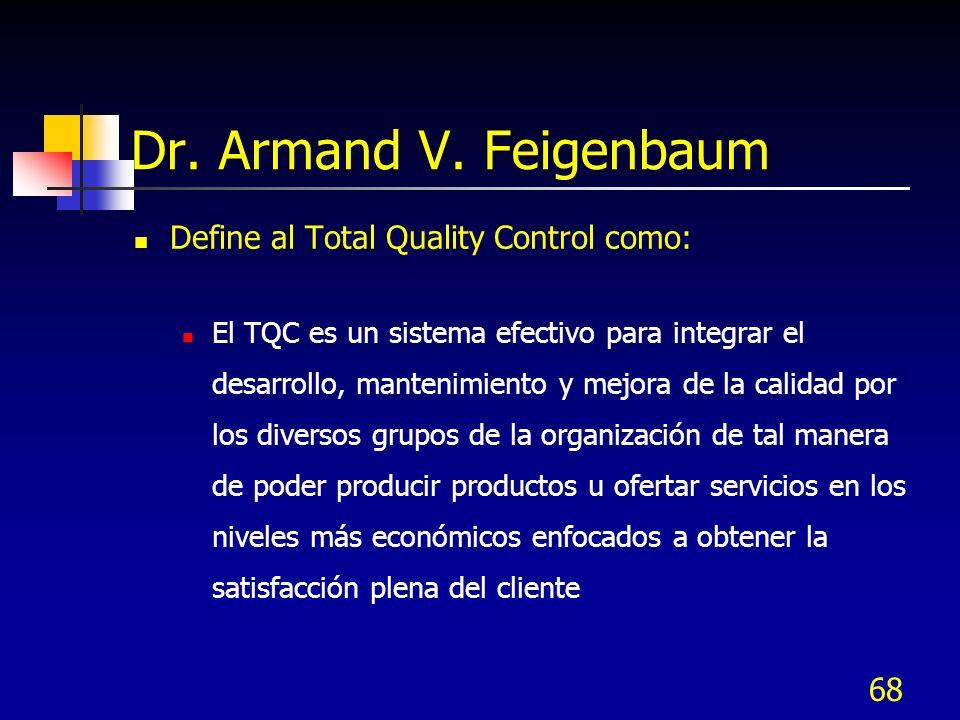 Dr. Armand V. Feigenbaum Define al Total Quality Control como: