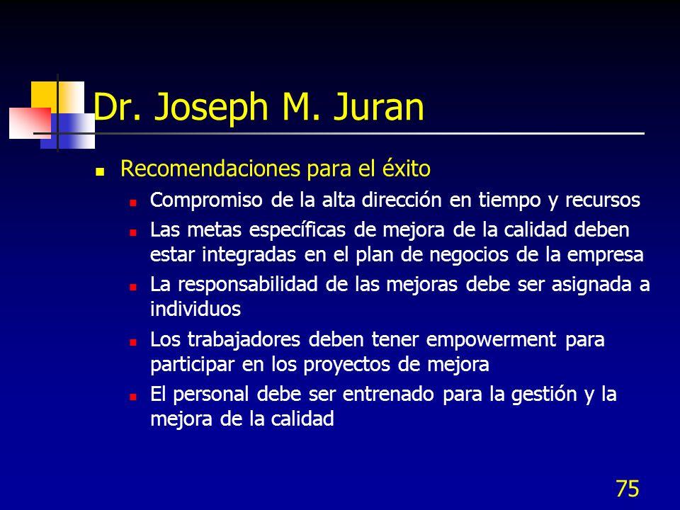 Dr. Joseph M. Juran Recomendaciones para el éxito