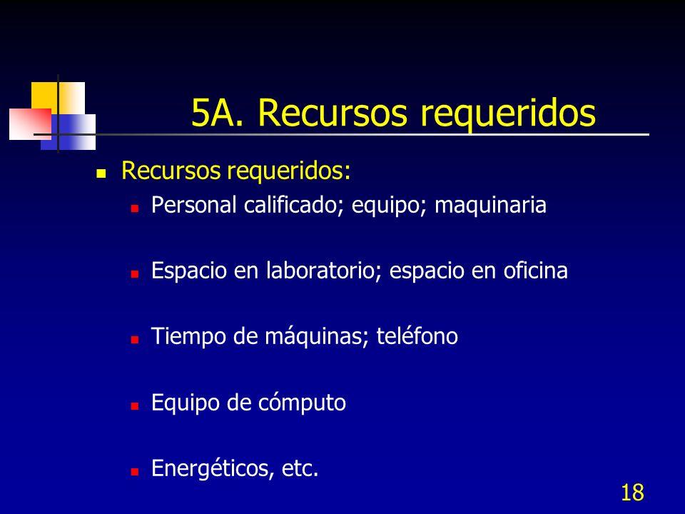 5A. Recursos requeridos Recursos requeridos: