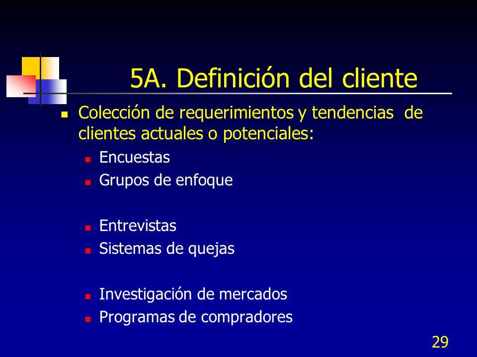 5A. Definición del cliente