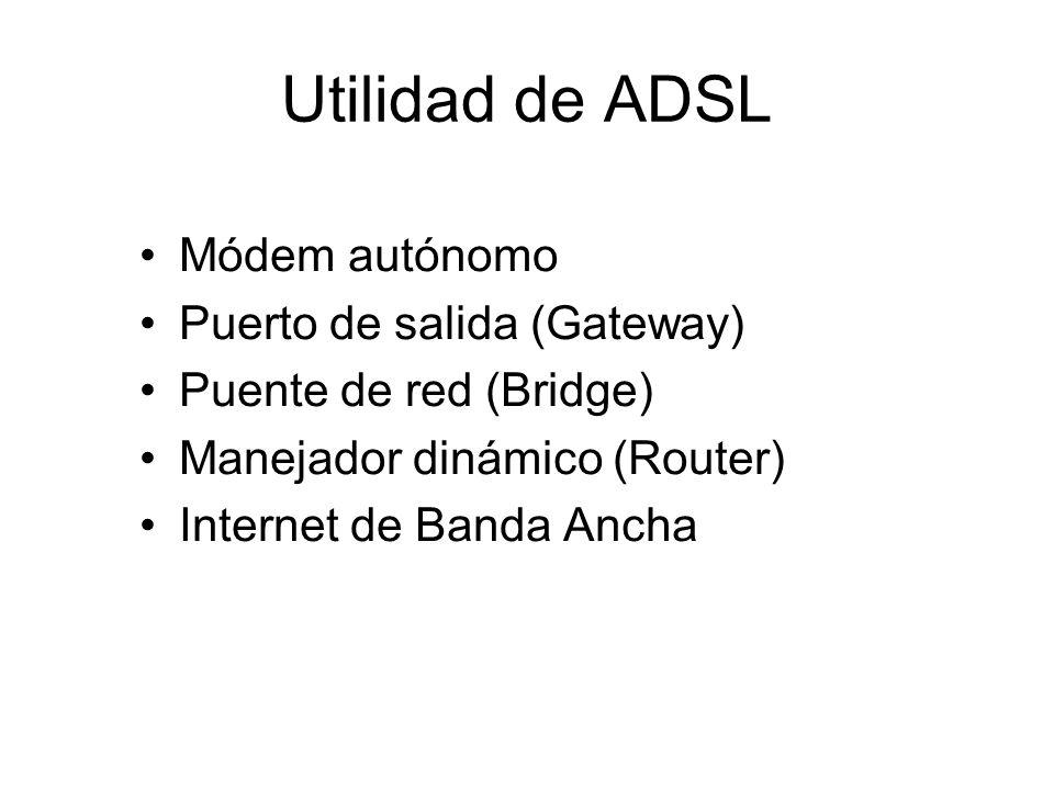 Utilidad de ADSL Módem autónomo Puerto de salida (Gateway)