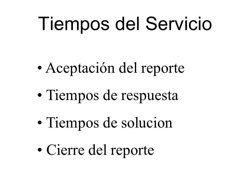 Tiempos del Servicio Aceptación del reporte Tiempos de respuesta