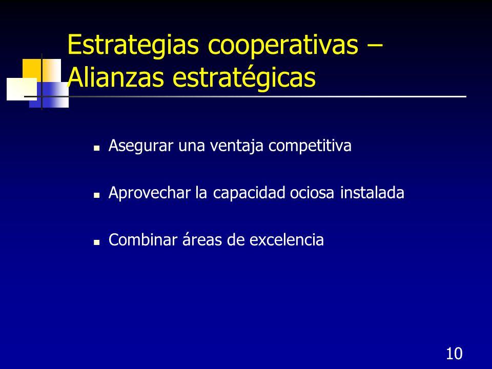 Estrategias cooperativas – Alianzas estratégicas