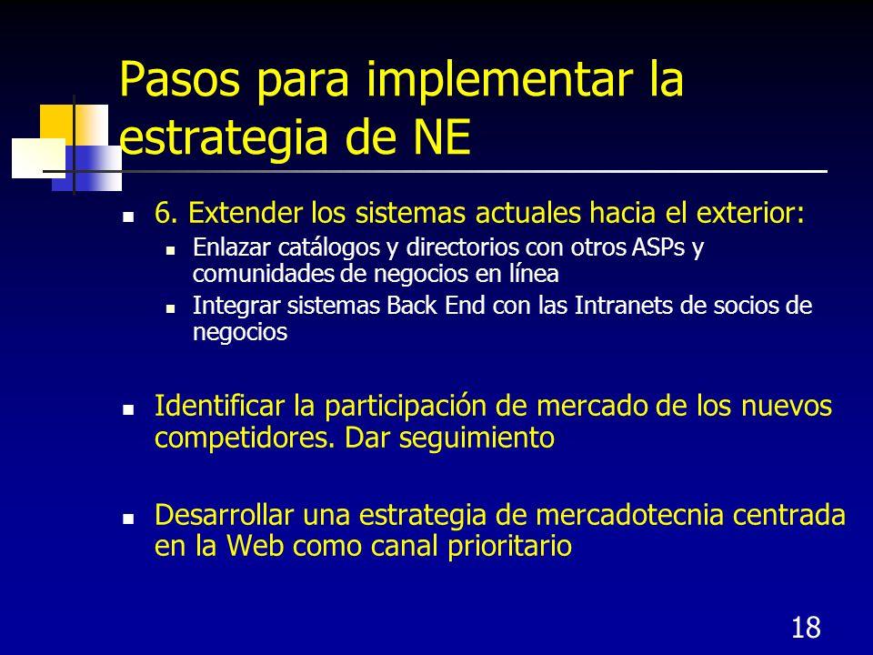 Pasos para implementar la estrategia de NE