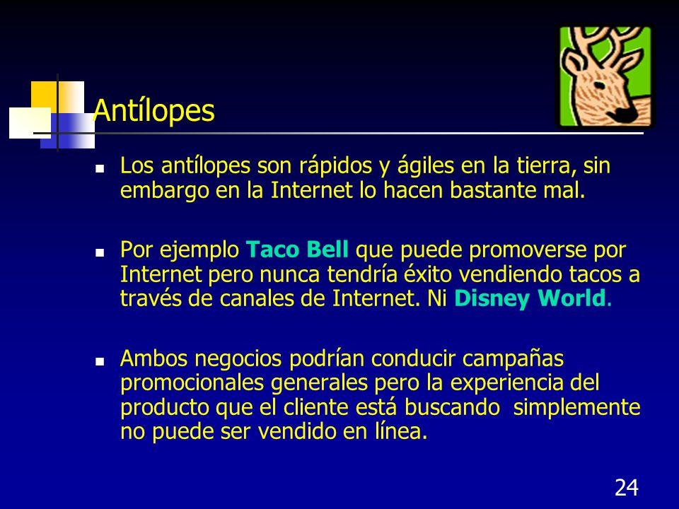 Antílopes Los antílopes son rápidos y ágiles en la tierra, sin embargo en la Internet lo hacen bastante mal.
