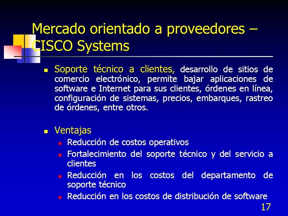 Mercado orientado a proveedores – CISCO Systems