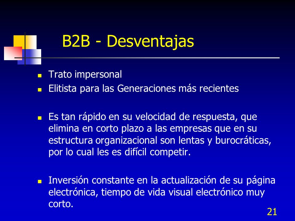 B2B - Desventajas Trato impersonal