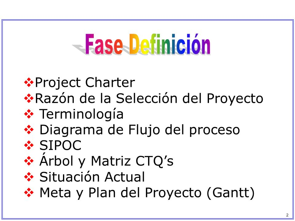 Fase Definición Project Charter Razón de la Selección del Proyecto