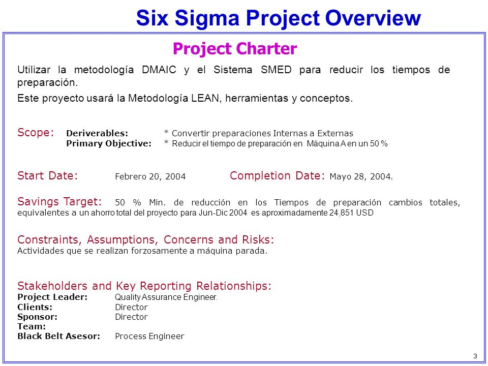 Six Sigma Project Overview