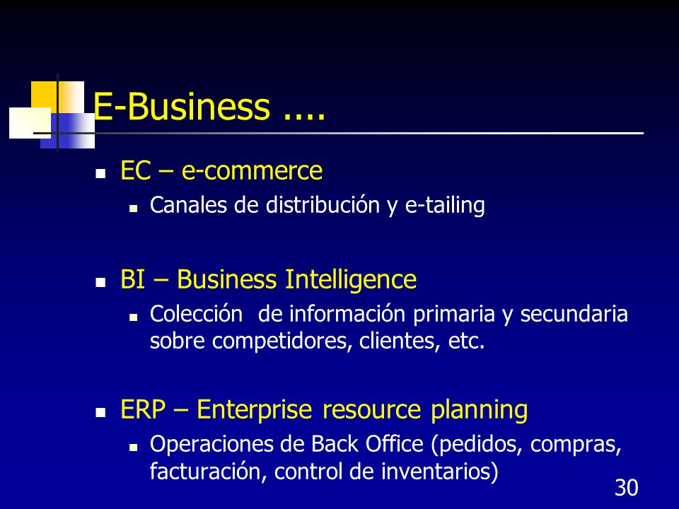 E-Business .... EC – e-commerce BI – Business Intelligence
