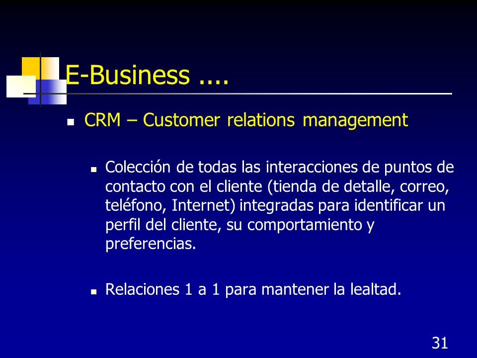 E-Business .... CRM – Customer relations management