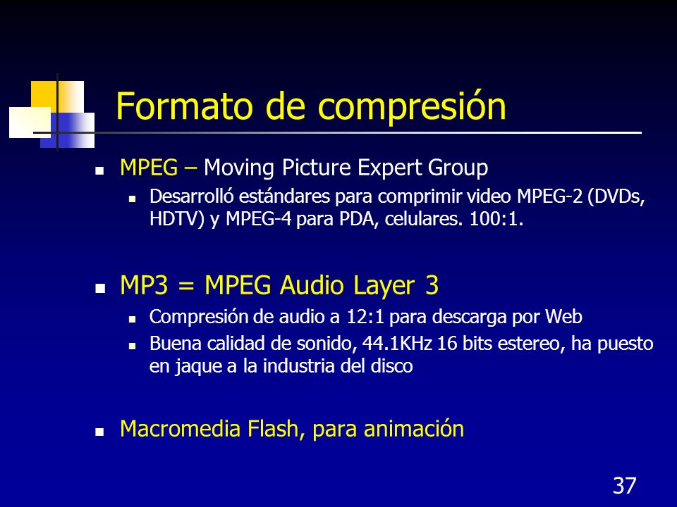 Formato de compresión MP3 = MPEG Audio Layer 3