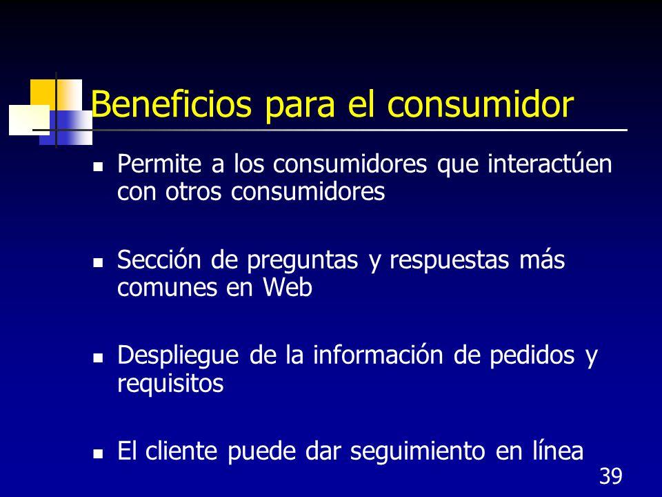 Beneficios para el consumidor