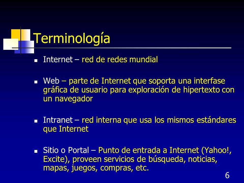 Terminología Internet – red de redes mundial