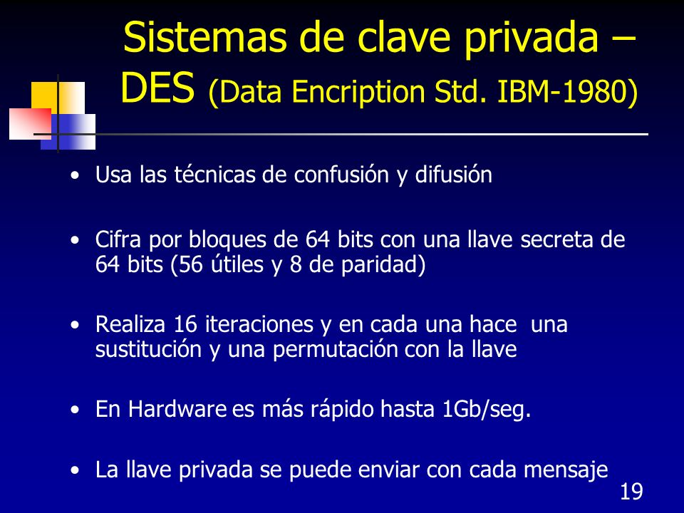 Sistemas de clave privada – DES (Data Encription Std. IBM-1980)