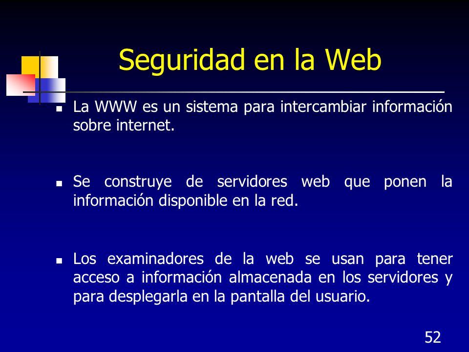Seguridad en la Web La WWW es un sistema para intercambiar información sobre internet.