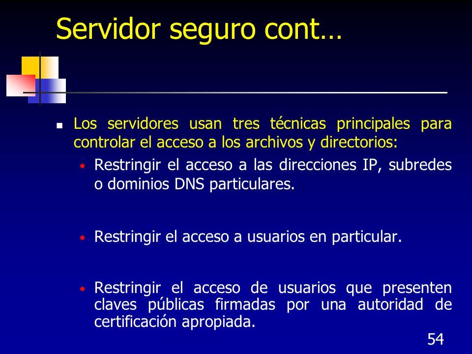 Servidor seguro cont… Los servidores usan tres técnicas principales para controlar el acceso a los archivos y directorios: