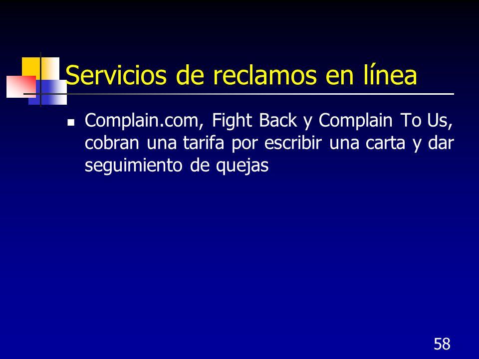 Servicios de reclamos en línea