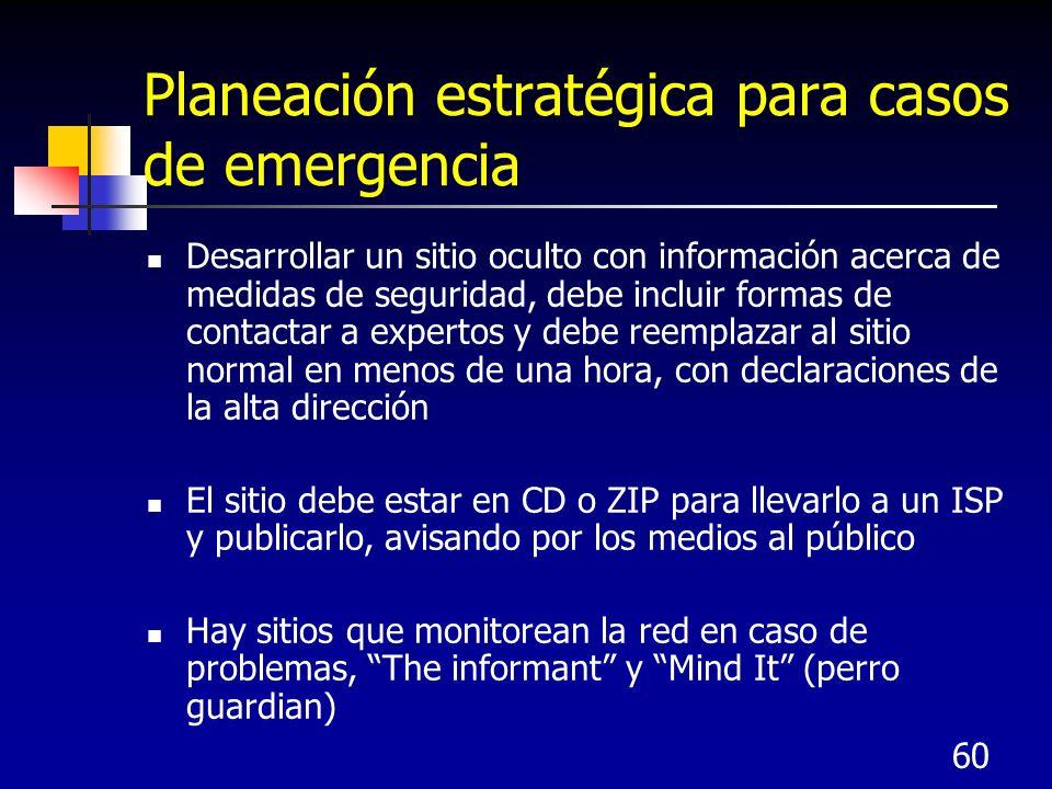 Planeación estratégica para casos de emergencia