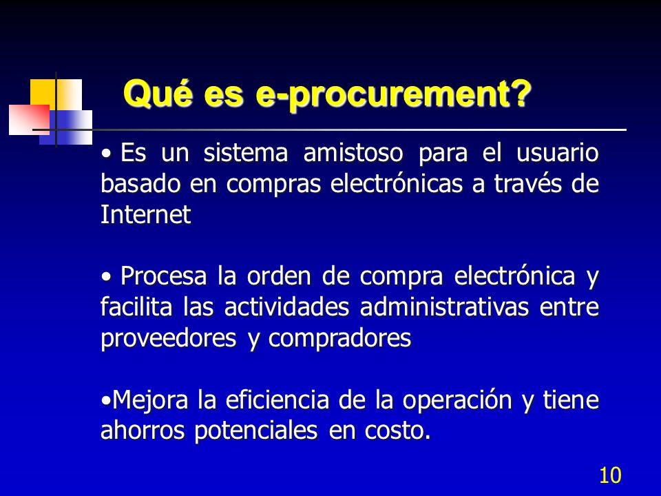 Qué es e-procurement Es un sistema amistoso para el usuario basado en compras electrónicas a través de Internet.