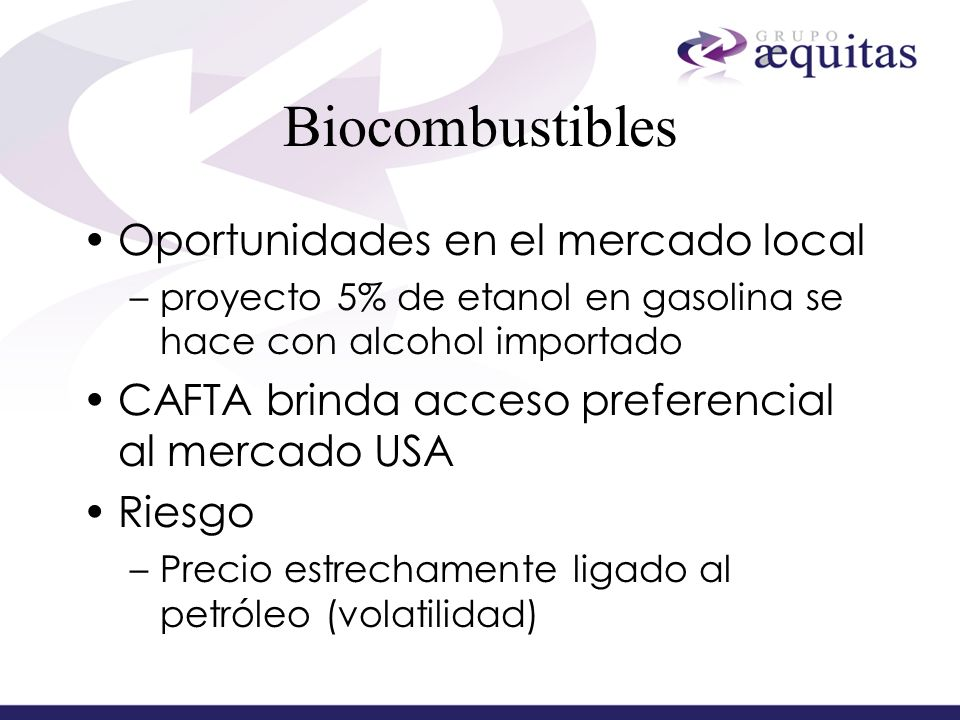 Biocombustibles Oportunidades en el mercado local