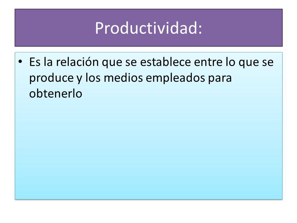 Productividad: Es la relación que se establece entre lo que se produce y los medios empleados para obtenerlo.