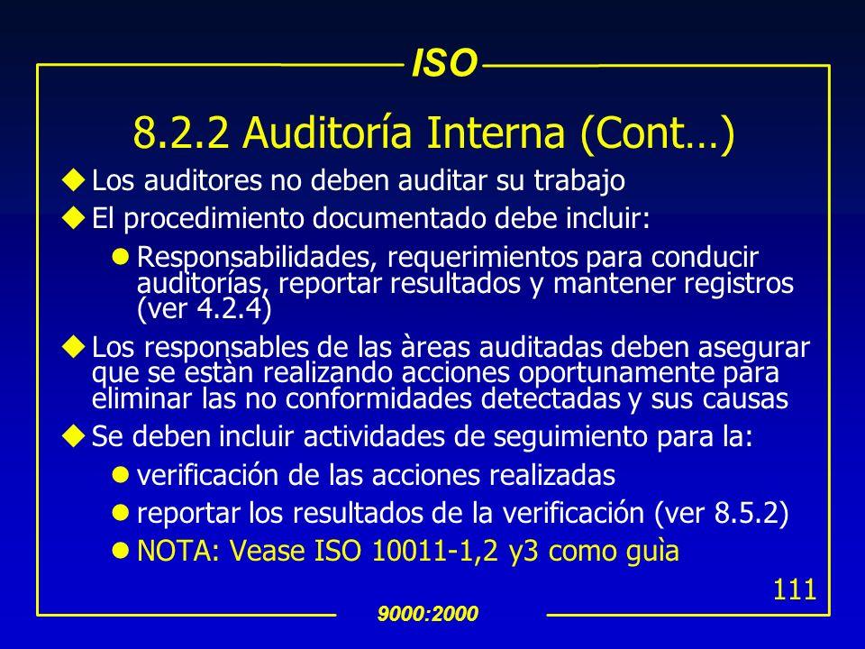 8.2.2 Auditoría Interna (Cont…)