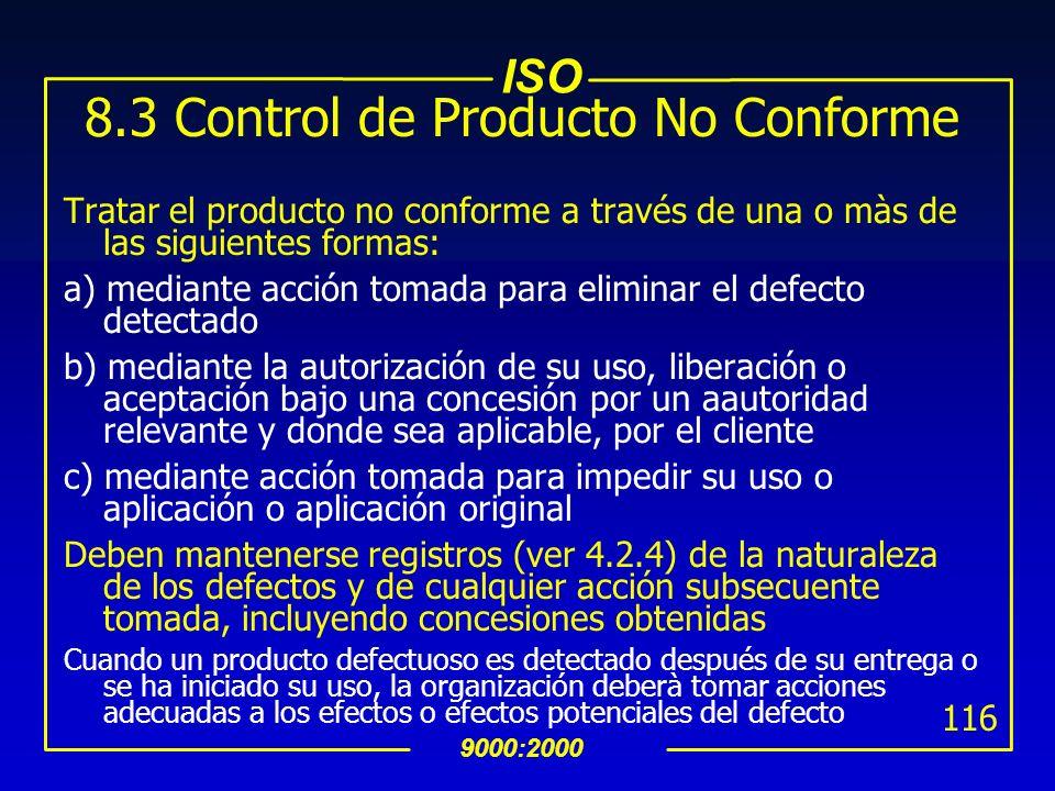 8.3 Control de Producto No Conforme