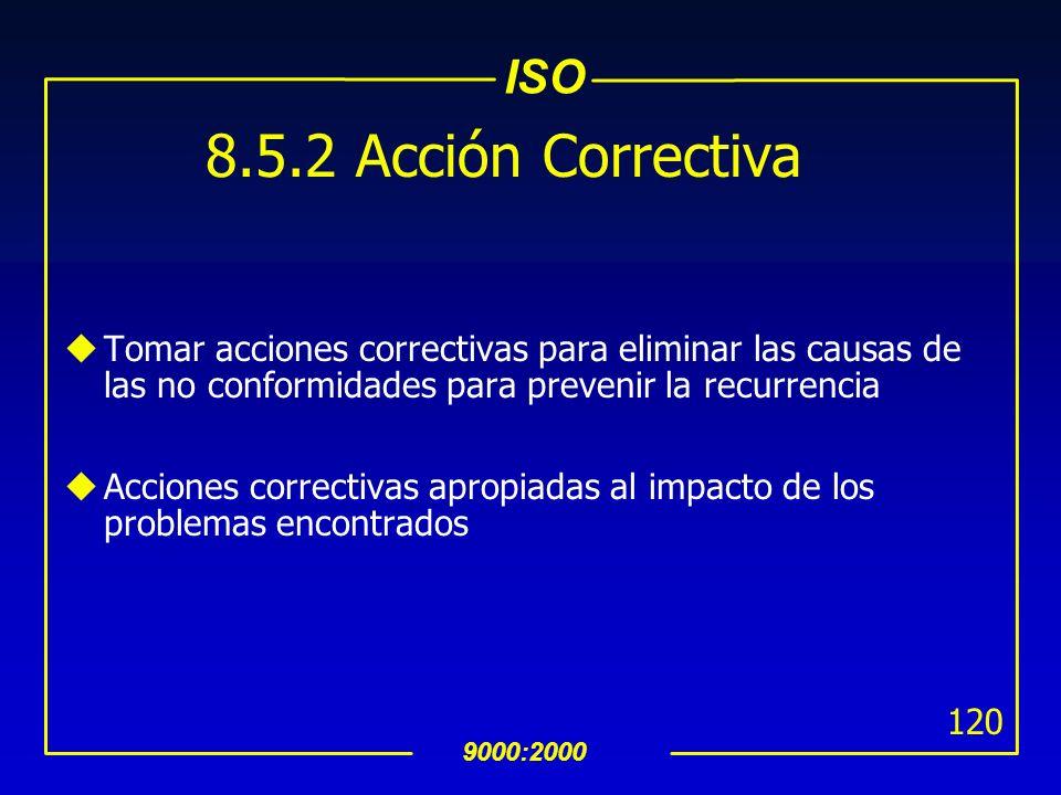 8.5.2 Acción CorrectivaTomar acciones correctivas para eliminar las causas de las no conformidades para prevenir la recurrencia.