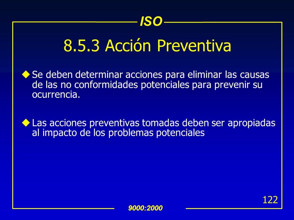 8.5.3 Acción PreventivaSe deben determinar acciones para eliminar las causas de las no conformidades potenciales para prevenir su ocurrencia.
