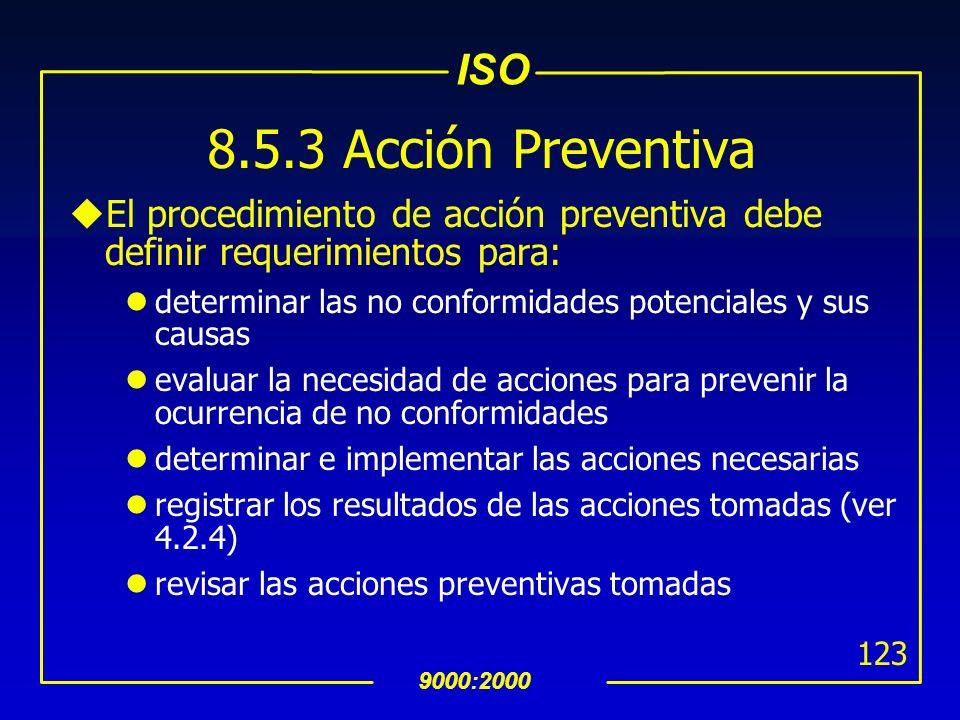 8.5.3 Acción Preventiva El procedimiento de acción preventiva debe definir requerimientos para: