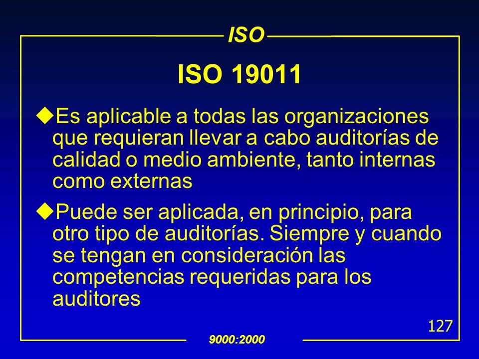 ISO 19011Es aplicable a todas las organizaciones que requieran llevar a cabo auditorías de calidad o medio ambiente, tanto internas como externas.
