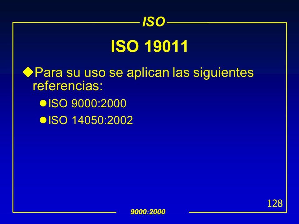 ISO 19011 Para su uso se aplican las siguientes referencias: