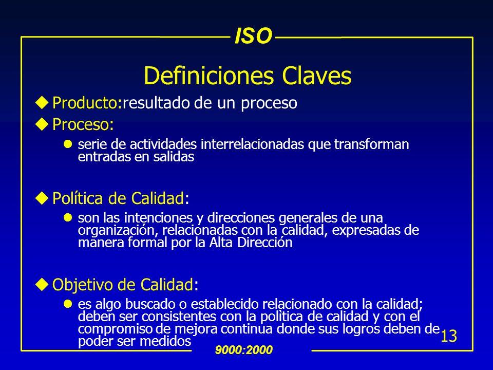 Definiciones Claves Producto:resultado de un proceso Proceso:
