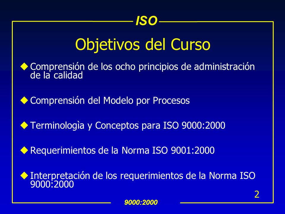 Objetivos del Curso Comprensión de los ocho principios de administración de la calidad. Comprensión del Modelo por Procesos.