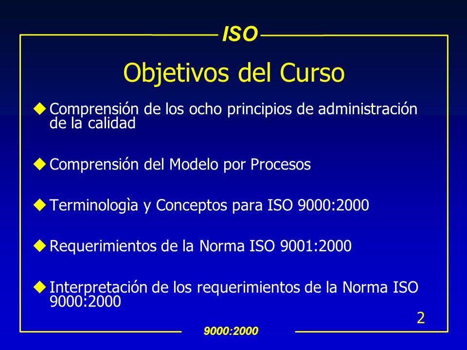 Objetivos del CursoComprensión de los ocho principios de administración de la calidad. Comprensión del Modelo por Procesos.