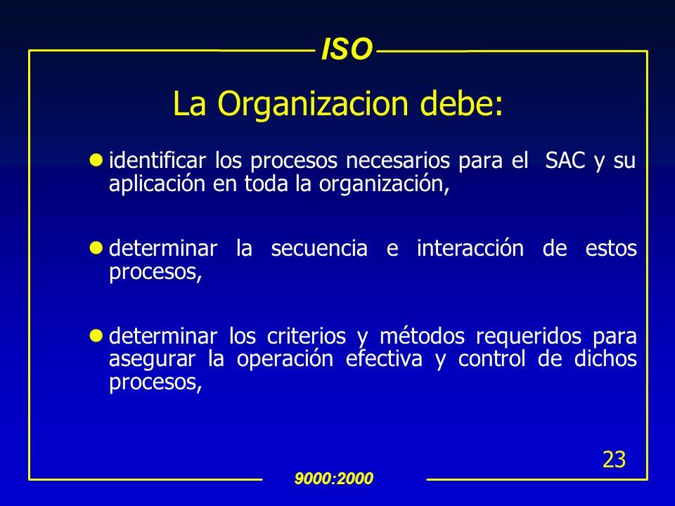 La Organizacion debe:identificar los procesos necesarios para el SAC y su aplicación en toda la organización,