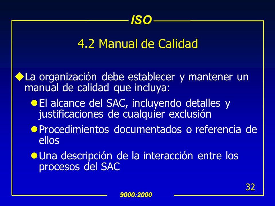 4.2 Manual de Calidad La organización debe establecer y mantener un manual de calidad que incluya: