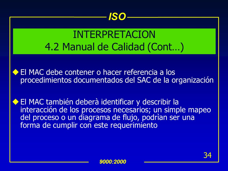 INTERPRETACION 4.2 Manual de Calidad (Cont…)