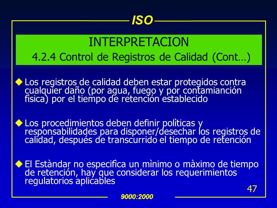 INTERPRETACION 4.2.4 Control de Registros de Calidad (Cont…)