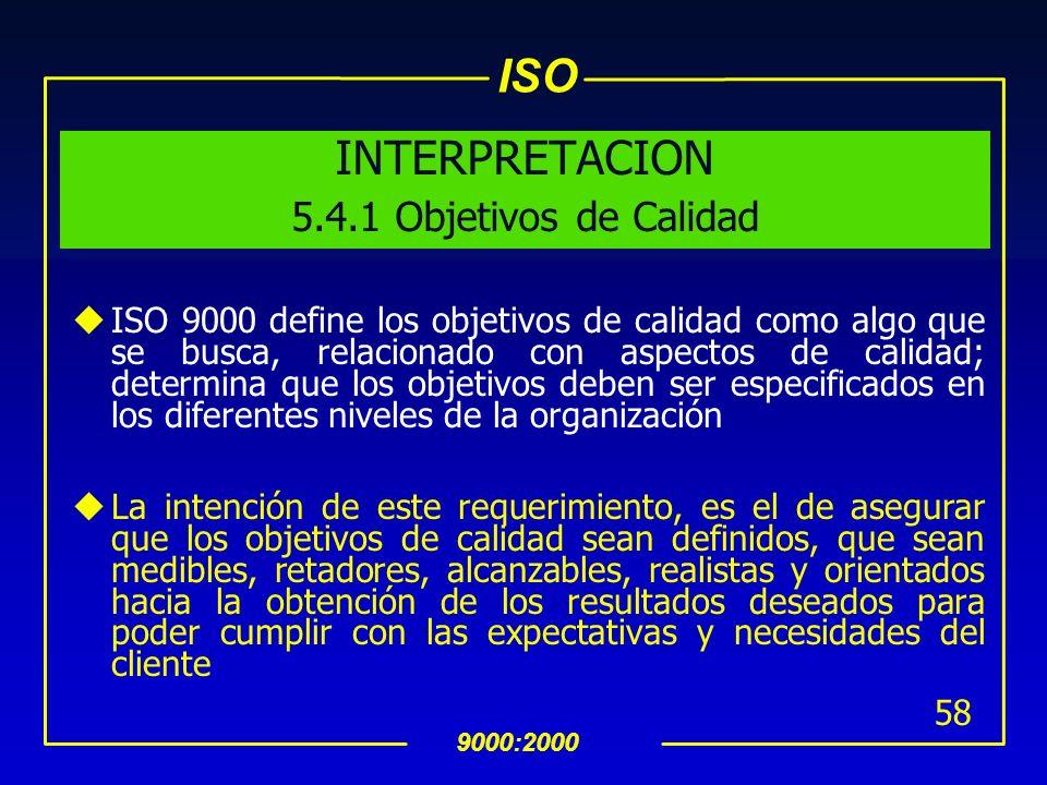 INTERPRETACION 5.4.1 Objetivos de Calidad