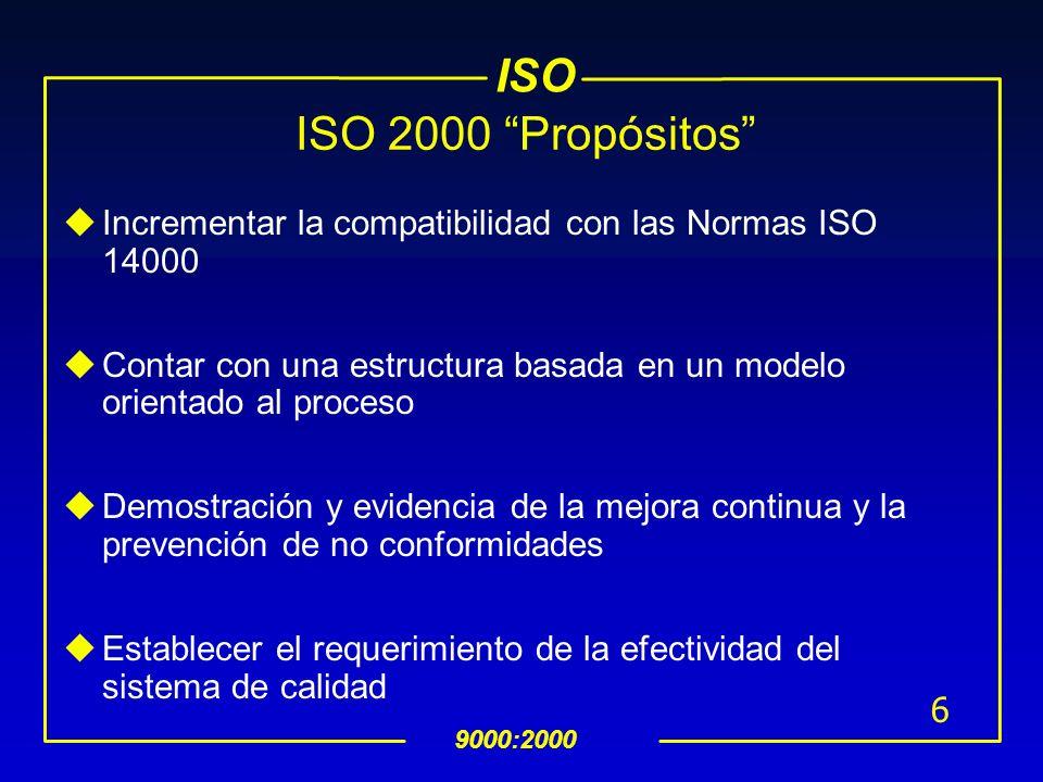 ISO 2000 Propósitos Incrementar la compatibilidad con las Normas ISO 14000. Contar con una estructura basada en un modelo orientado al proceso.
