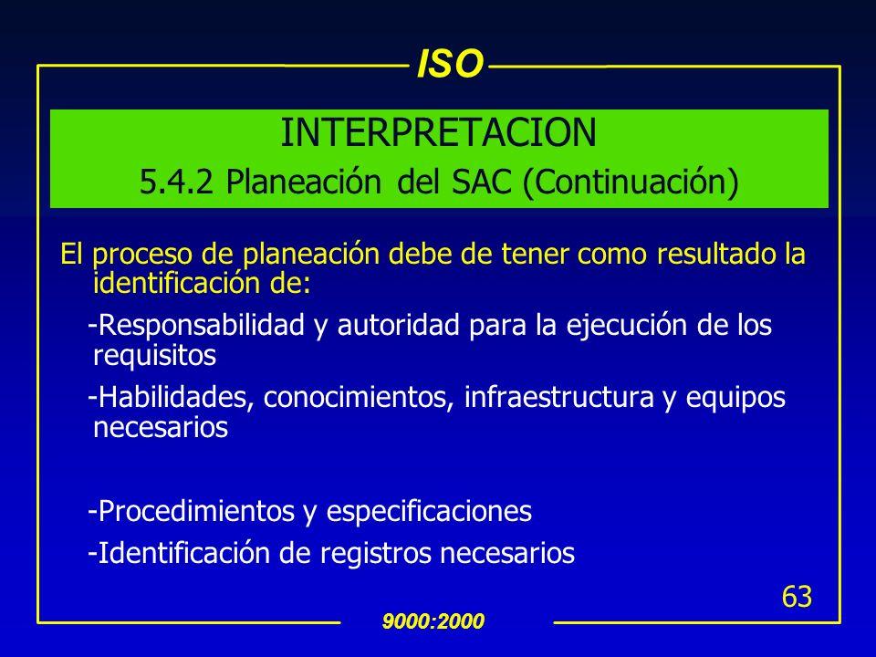 INTERPRETACION 5.4.2 Planeación del SAC (Continuación)