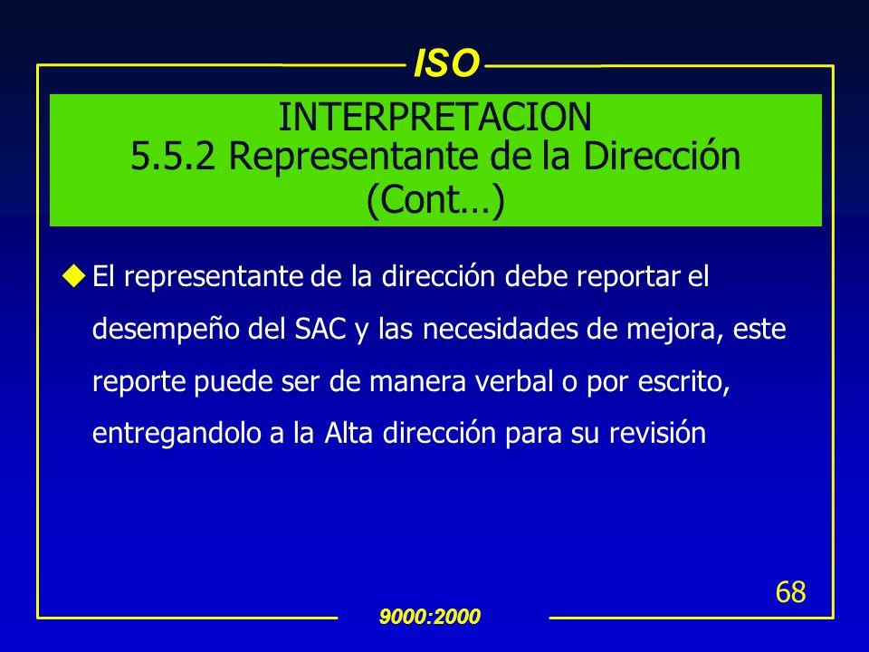 INTERPRETACION 5.5.2 Representante de la Dirección (Cont…)