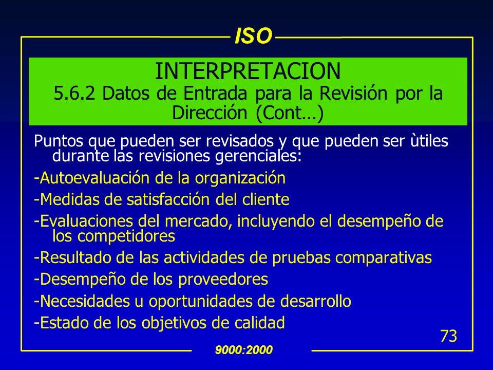 INTERPRETACION 5.6.2 Datos de Entrada para la Revisión por la Dirección (Cont…)