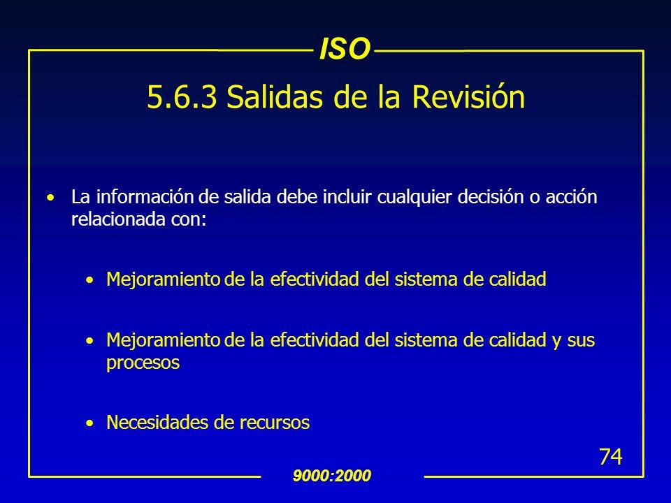 5.6.3 Salidas de la Revisión La información de salida debe incluir cualquier decisión o acción relacionada con: