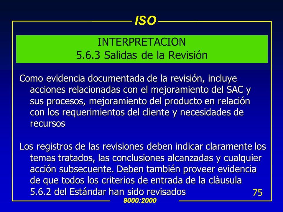 INTERPRETACION 5.6.3 Salidas de la Revisión