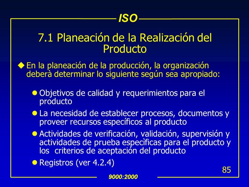 7.1 Planeación de la Realización del Producto