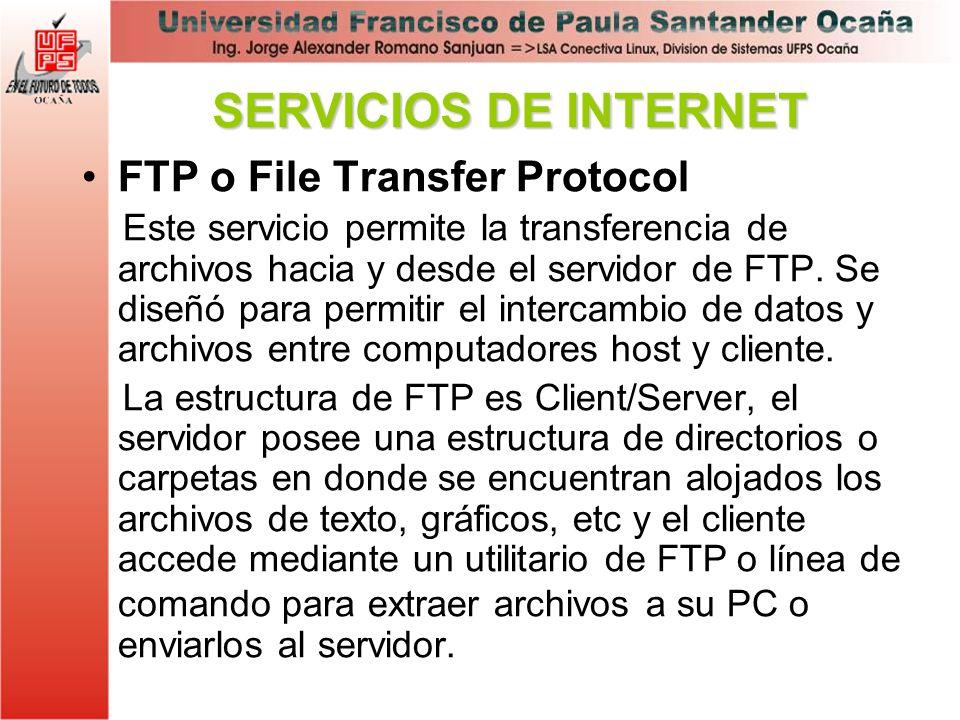 SERVICIOS DE INTERNET FTP o File Transfer Protocol