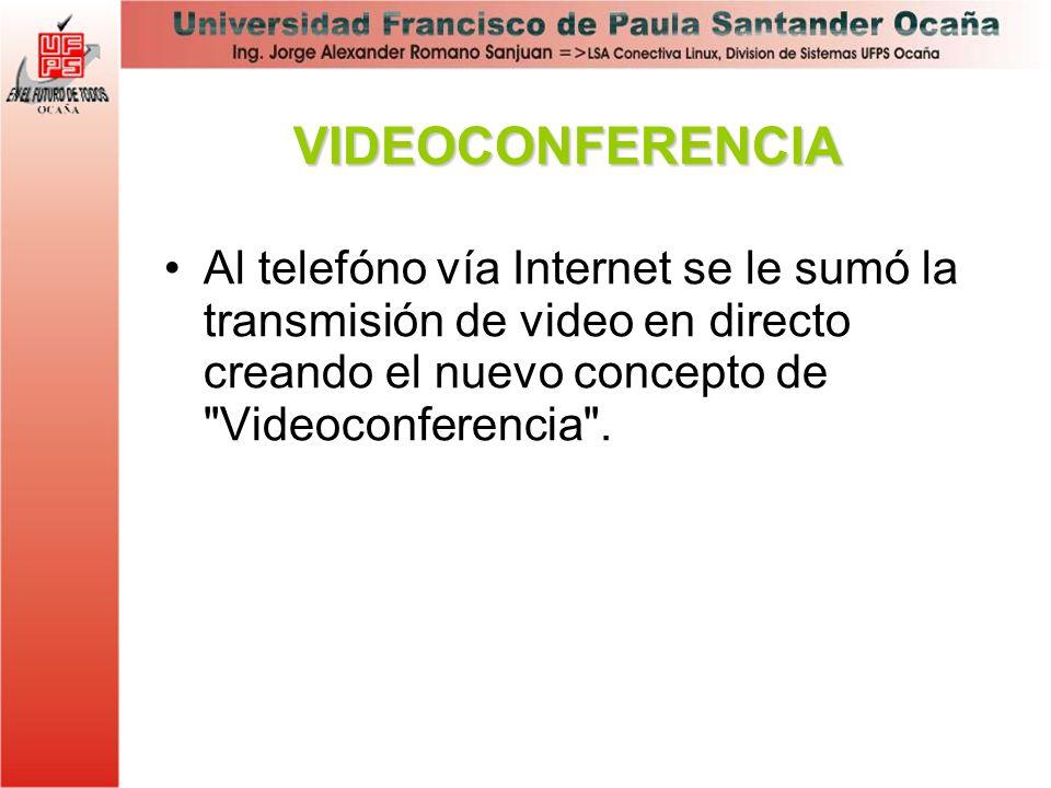 VIDEOCONFERENCIA Al telefóno vía Internet se le sumó la transmisión de video en directo creando el nuevo concepto de Videoconferencia .